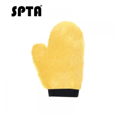 SPTA Sheepskin Car Wash Mitts Super Soft, High Density, No Scratch and Lint Free Reusable 100% Natural Lambs Wool Wash & Wax Mitten with Thumb Design